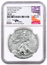 2018-W Burnished American Silver Eagle NGC MS70 ER Mercanti Signed Label