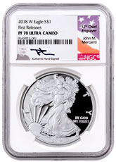 2018-W Proof American Silver Eagle NGC PF70 UC FR Mercanti Signed Label