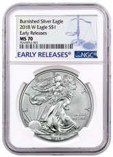 2018-W Burnished American Silver Eagle NGC MS70 ER