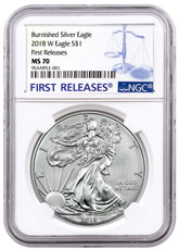 2018-W Burnished American Silver Eagle NGC MS70 FR