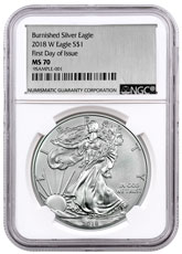 2018-W Burnished American Silver Eagle NGC MS70 FDI Exclusive Silver Foil label