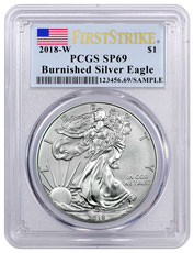 2018-W Burnished American Silver Eagle PCGS SP69 FS Flag Label