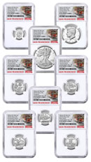 8-Coin Set - 2018-S U.S. Limited Edition Silver Proof Coins Set From Limited Edition Silver Proof Set NGC PF69 UC ER San Francisco Cable Car Label