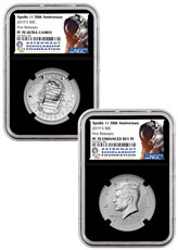 2019-S US Apollo 11 50th Anniversary 2-Coin Commemorative Clad Half Dollar Proof + Enhanced Reverse Proof Set NGC PF70 FR Black Core Holder Astronaut Scholarship Foundation Label