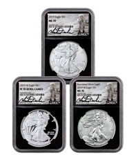 3-Coin Set - 2019 American Silver Eagle Type Set NGC MS70 + PF70 Black Core Holder Charlie Duke Signed Label