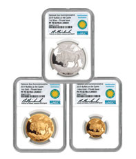 2019 Smithsonian Zoo 3-Coin Buffalo Set Gold + Silver Medal Scarce and Unique Coin Division NGC PF70 UC COA Natanya Van Niekerk Signed Label