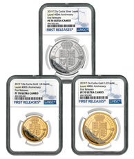 2019 Tristan da Cuhna 1/4 oz Gold + Silver Laurel - 3-Piece Set Proof Coin Scarce and Unique Coin Division NGC PF70 UC FR