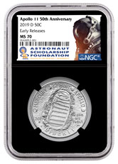 2019-D US Apollo 11 50th Anniversary Commemorative Clad Half Dollar Coin NGC MS70 ER Black Core Holder Astronaut Scholarship Foundation Label