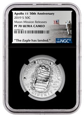 2019-S US Apollo 11 50th Anniversary Commemorative Clad Half Dollar Proof Coin NGC PF70 Moon Mission Releases Black Core Holder