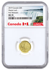 2019 Canada 1/10 oz Gold Maple Leaf 5 Coin NGC MS70 FR Exclusive Canada Label