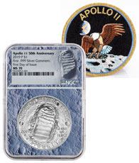 2019-P US Apollo 11 50th Anniversary Commemorative Silver Dollar Coin NGC MS70 FDI With Apollo 11 Mission Patch Moon Core Holder