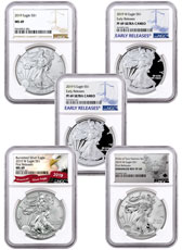 5-Piece Set - 2019 $1 American Silver Eagle Type Set NGC MS69 + PF69 in Presentation Display Box
