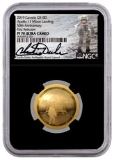 2019 Canada Apollo 11 Domed - 50th Anniversary 1/2 oz Gold Proof $100 Coin NGC PF70 UC FR Black Core Holder Charlie Duke Signed Label