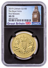 2019 Great Britain Gold Royal Arms £100 Coin NGC MS70 FR Black Core Holder Great Britain Label