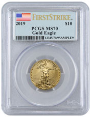 2019 1/4 oz Gold American Eagle $10 PCGS MS70 FS Flag Label