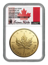 2019 Canada 2 oz Gold Maple Leaf Reverse Proof $200 Coin Scarce and Unique Coin Division NGC PF70 Exclusive Taylor Signed Label