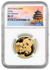 2019 China 15 g Gold Panda ¥200 Coin NGC MS70 FR Exclusive Temple Label