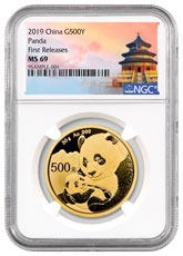 2019 China 30 g Gold Panda ¥500 Coin NGC MS69 FR Exclusive Temple Label