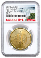2019 Canada 1 oz Gold Maple Leaf - 40th Anniversary $50 Coin NGC MS70 FR Exclusive Canada Label