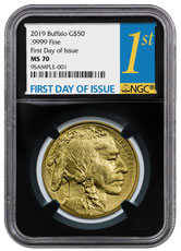 2019 1 oz Gold Buffalo $50 Coin NGC MS70 FDI Black Core Holder