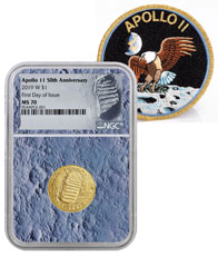 2019-W US Apollo 11 50th Anniversary $5 Gold Commemorative Coin NGC MS70 FDI With Apollo 11 Mission Patch Moon Core Holder