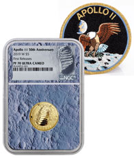 2019-W US Apollo 11 50th Anniversary $5 Gold Commemorative Proof Coin NGC PF70 FR With Apollo 11 Mission Patch Moon Core Holder