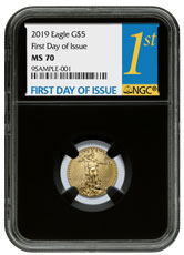 2019 1/10 oz Gold American Eagle $5 NGC MS70 FDI Black Core Holder
