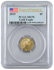 2019 1/10 oz Gold American Eagle $5 PCGS MS70 FS Flag Label