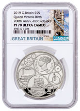 2019 Great Britain 200 Year Commemorative - Queen Victoria Silver Proof £5 Coin NGC PF70 UC FR With COA & Storybook Tower Label