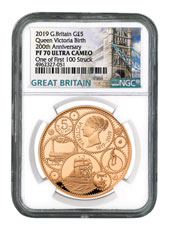 2019 Great Britain Queen Victoria - First 100 struck Gold Proof £5 Coin Scarce and Unique Coin Division NGC PF70 UC One of First 100 Struck With COA & Storybook Tower Bridge Label