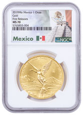 2019-Mo Mexico 1 oz Gold Libertad 1 Onza Coin NGC MS70 FR Exclusive Mexico Label