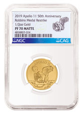 1969-2019 Apollo 11 50th Anniversary Robbins Medals 1/2 oz Gold Matte Proof Medal NGC PF70