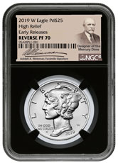 2019-W 1 oz High Relief Palladium Eagle Reverse Proof $25 Coin NGC PF70 ER Black Core Holder Adolph Weinman Label