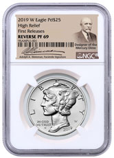2019-W 1 oz High Relief Palladium Eagle Reverse Proof $25 Coin NGC PF69 FR Adolph Weinman Label