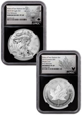 2019 United States & Canada 1 oz Silver Eagle & Maple Leaf - Pride of Two Nations 2-Coin Set NGC PF69 FR Black Core Holder Exclusive Eagle & Maple Labels with OGP