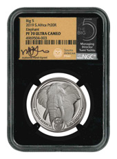 2019 South Africa The Big 5 - Elephant 1 oz Platinum Proof R20 Coin Scarce and Unique Coin Division NGC PF70 UC Tumi Signed Label