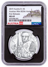 2019 Austria Silver Leopold Coin NGC MS69 FR Black Core Holder Austria Label
