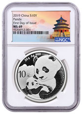 2019 China 30 g Silver Panda ¥10 Coin NGC MS69 FDI Exclusive Temple Label