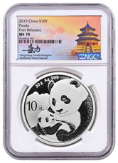 2019 China 30 g Silver Panda ¥10 Coin NGC MS70 FR White Core Holder Tong Fang Signed Label