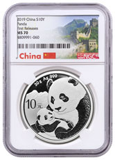 2019 China 30 g Silver Panda ¥10 Coin NGC MS70 FR Exclusive Great Wall Label