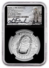 2019-P Apollo 11 50th Anniversary Commemorative Silver Dollar Proof Coin Scarce and Unique Coin Division NGC PF70 FDI Charlie Duke Signed label