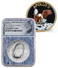 2019-P US Apollo 11 50th Anniversary Commemorative Silver Dollar Proof Coin NGC PF70 ER With Apollo 11 Mission Patch Moon Core Holder