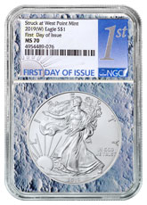 2019-(W) American Silver Eagle Struck at West Point NGC MS70 FDI Moon Core Holder