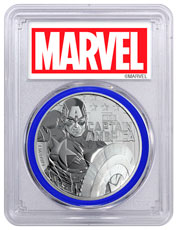 2019 Tuvalu Captain America 1 oz Silver Marvel Series $1 Coin PCGS MS70 FS Blue Gasket Exclusive Marvel Label