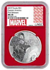 2019 Tuvalu Captain America 1 oz Silver Marvel Series $1 Coin NGC MS70 FR Red Core Holder Exclusive Marvel Label