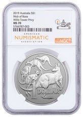 2019 Australia 1 oz Silver Kangaroo - Willis Tower Privy $1 Coin NGC MS70 ANA Label