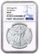 2019 American Silver Eagle NGC MS69 FR Blue Label
