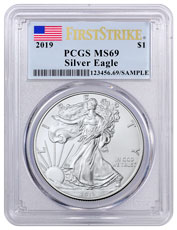 2019 American Silver Eagle PCGS MS69 FS Flag Label