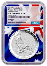 2019-P Australia 1 oz Silver Wedge-Tailed Eagle $1 Coin NGC GEM Unc FR Flag Core Mercanti Signed Label