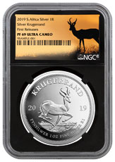 2019 South Africa 1 oz Silver Krugerrand Proof R1 Coin NGC PF69 UC FR Black Core Holder Springbok Label